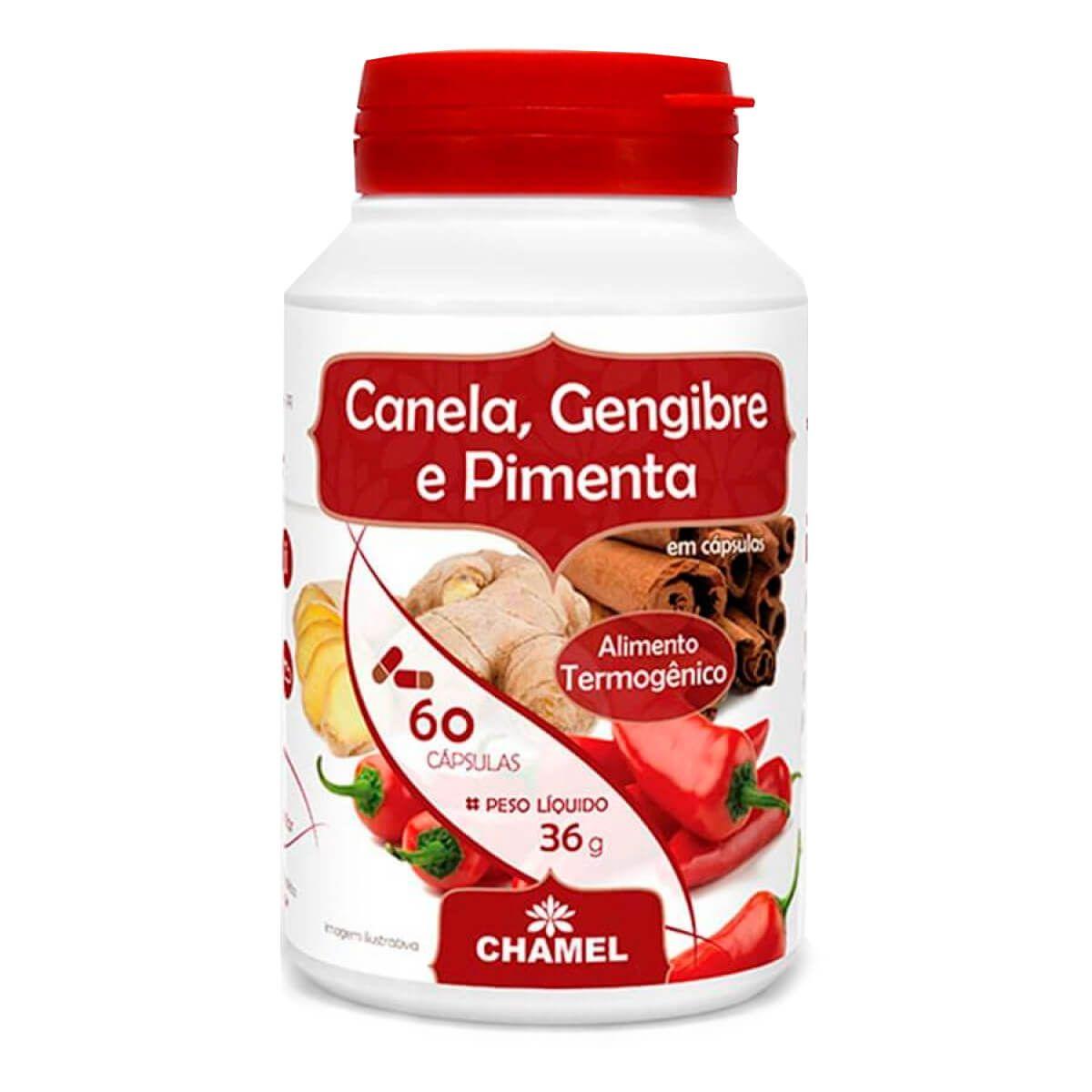 Canela Gengibre Pimenta 300mg Chamel - 60 caps