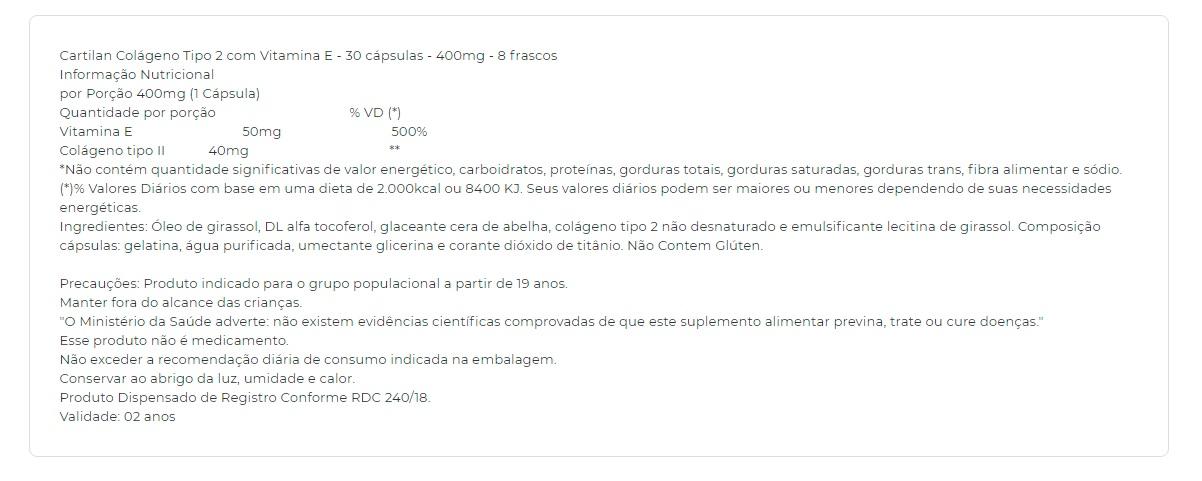 Cartilan 400mg Colágeno TIPO II Natuclin - 30 caps
