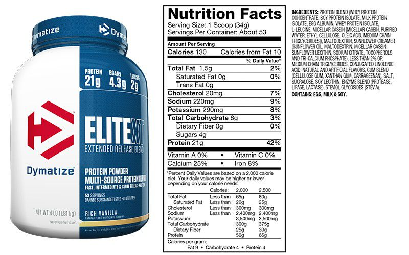 Elite XT Protein Powder Dymatize Nutrition - 1.8kg