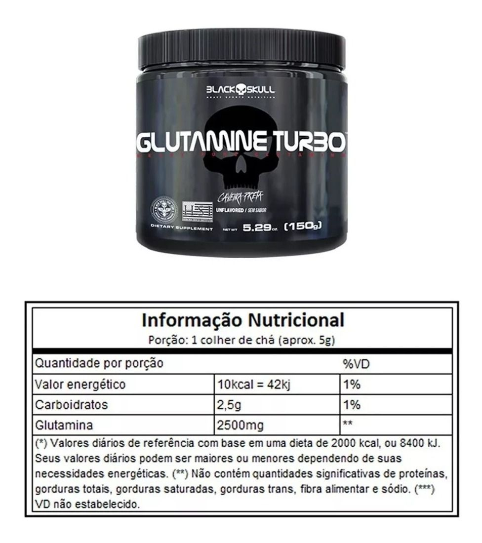 Glutamine Turbo Black Skull - 150g