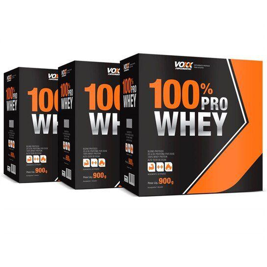 Kit 3x 100% Pro Whey Voxx Suplementos