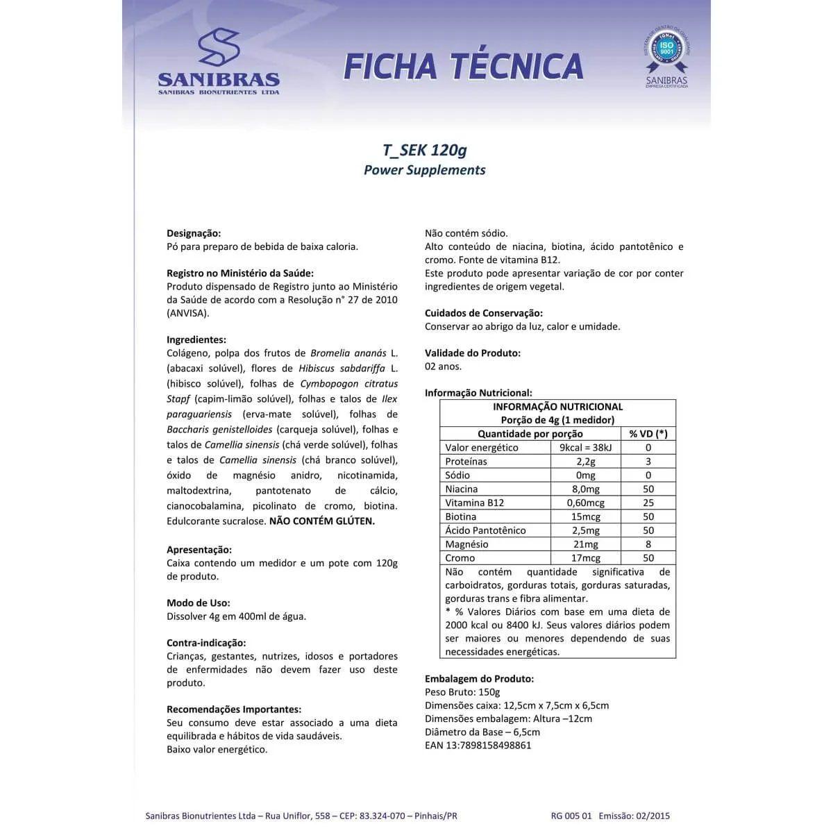 Kit Emagrecimento Rápido Sineflex HC 150 caps + L-Phinex 480ml + T_Sek 120g + Shake 400g (BRINDE)