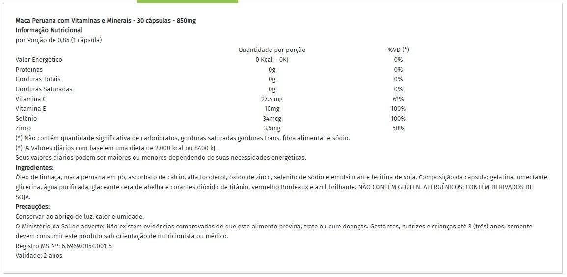 Maca Peruana 850mg Natuclin - 30 caps