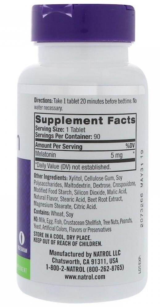 Melatonina Sublingual 5mg Natrol - 90 tabletes