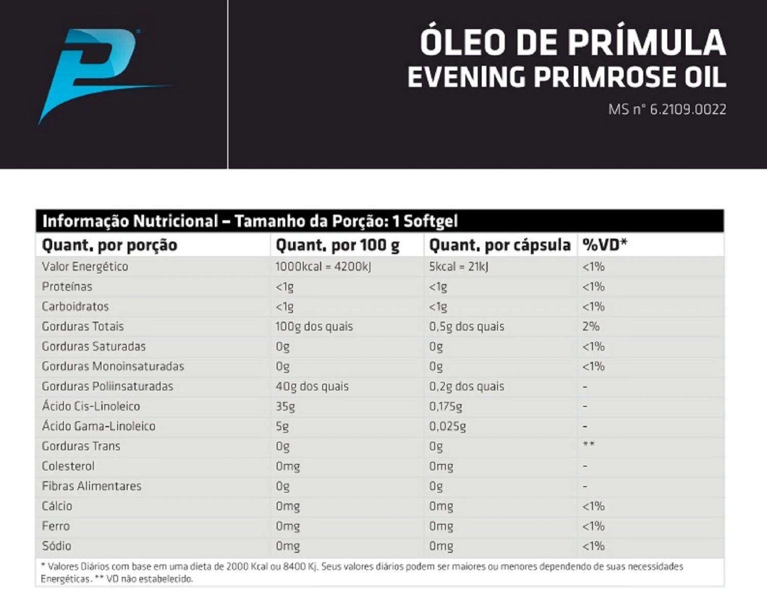 Óleo de Prímula Performance Nutrition - 100 caps