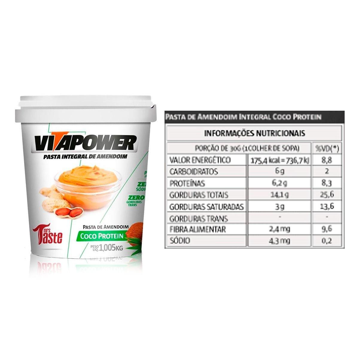 Pasta de Amendoim Coco Protein VitaPower - 1kg