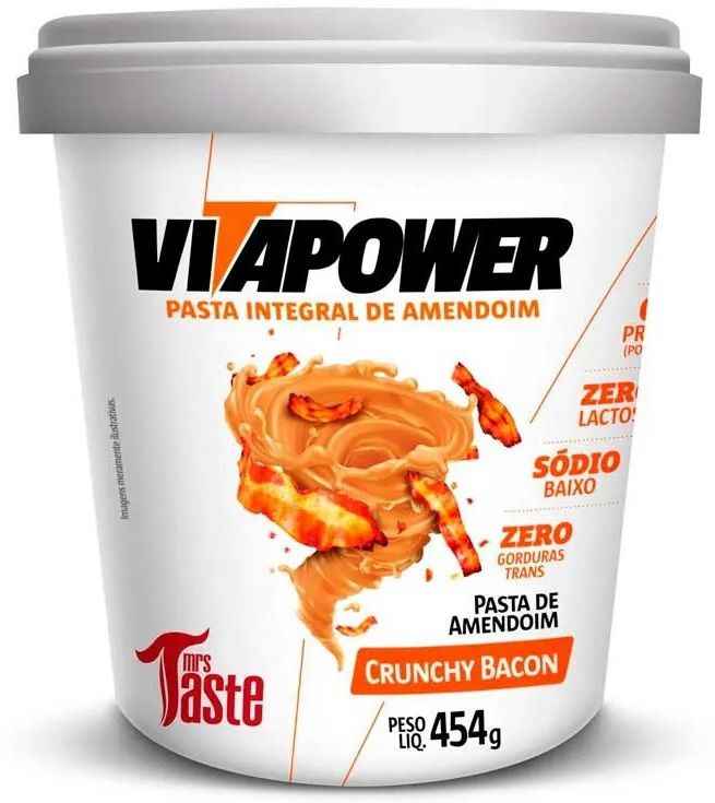 Pasta de Amendoim Crunchy Bacon VitaPower - 454g