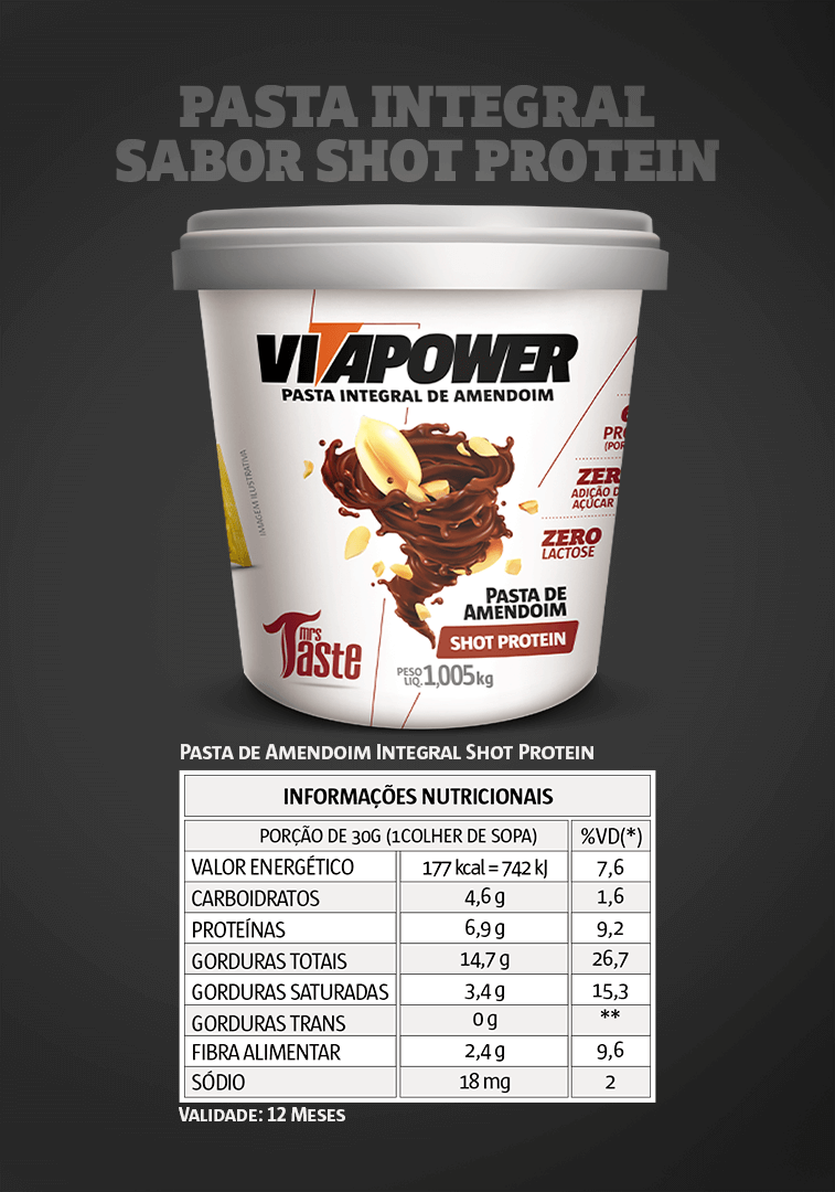 Pasta Integral Shot Protein VitaPower - 1kg