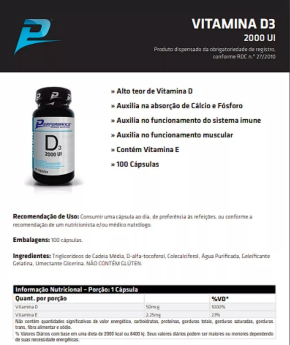 Vitamina D3 2000UI Performance Nutrition - 100 caps