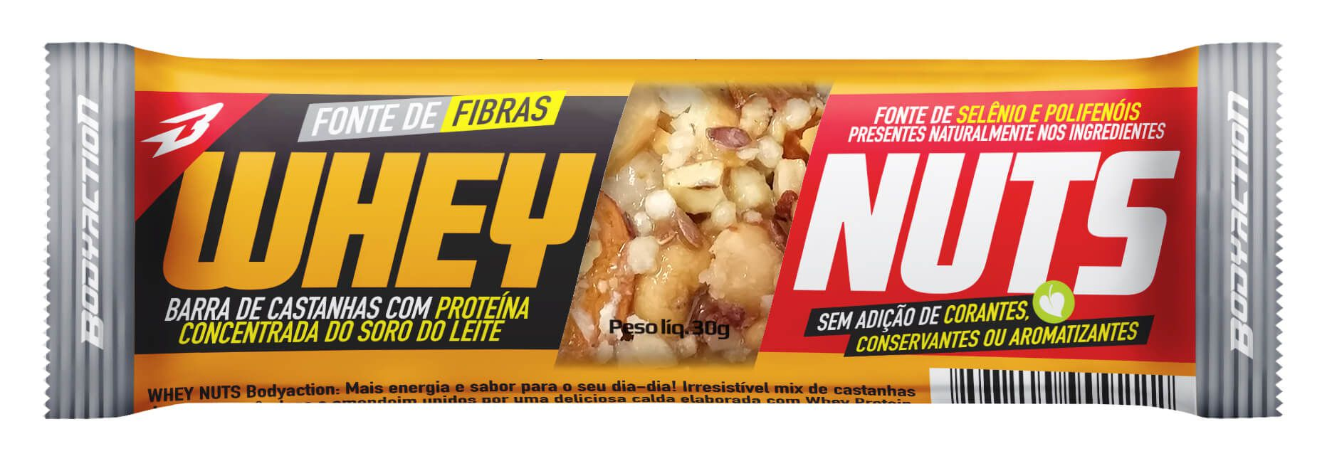 Whey Nuts Bar Body Action 30g - (1 unidade)
