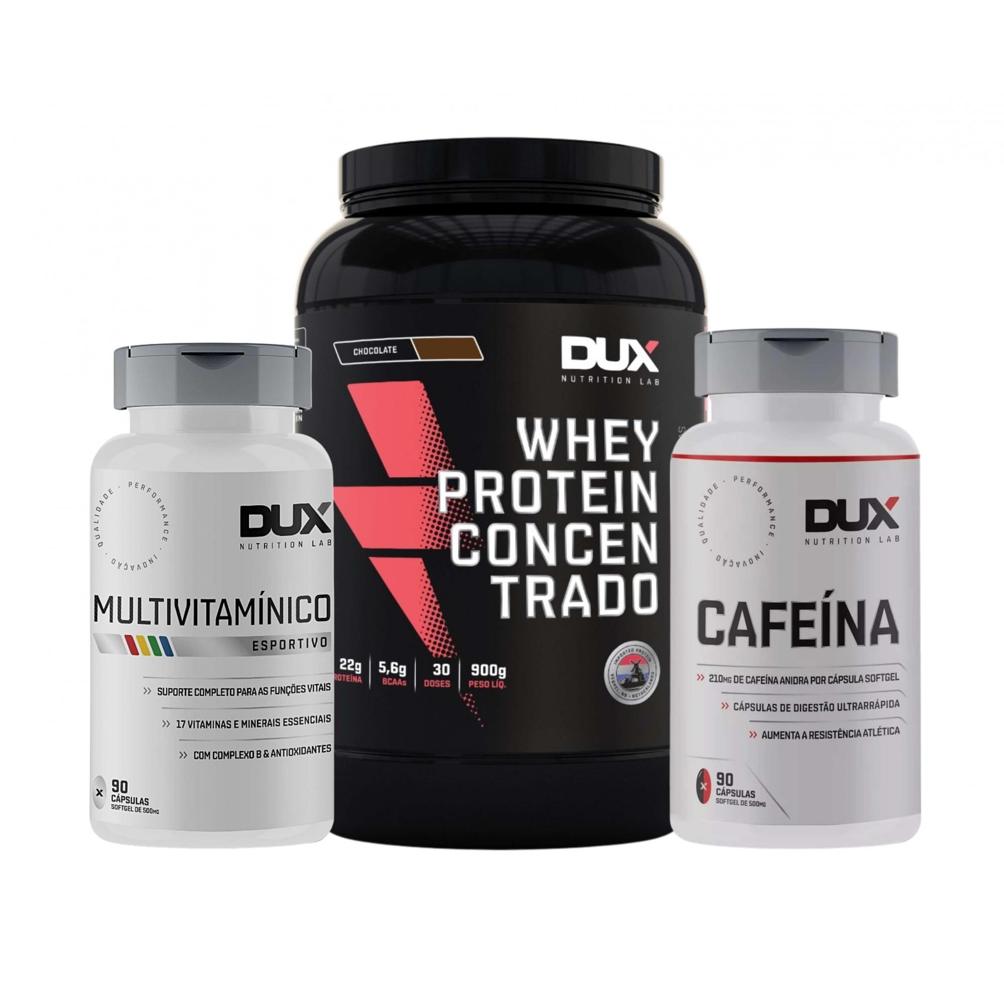 Whey Protein Concentrado 900g + Cafeína 90 caps + Multivitaminico 90 caps