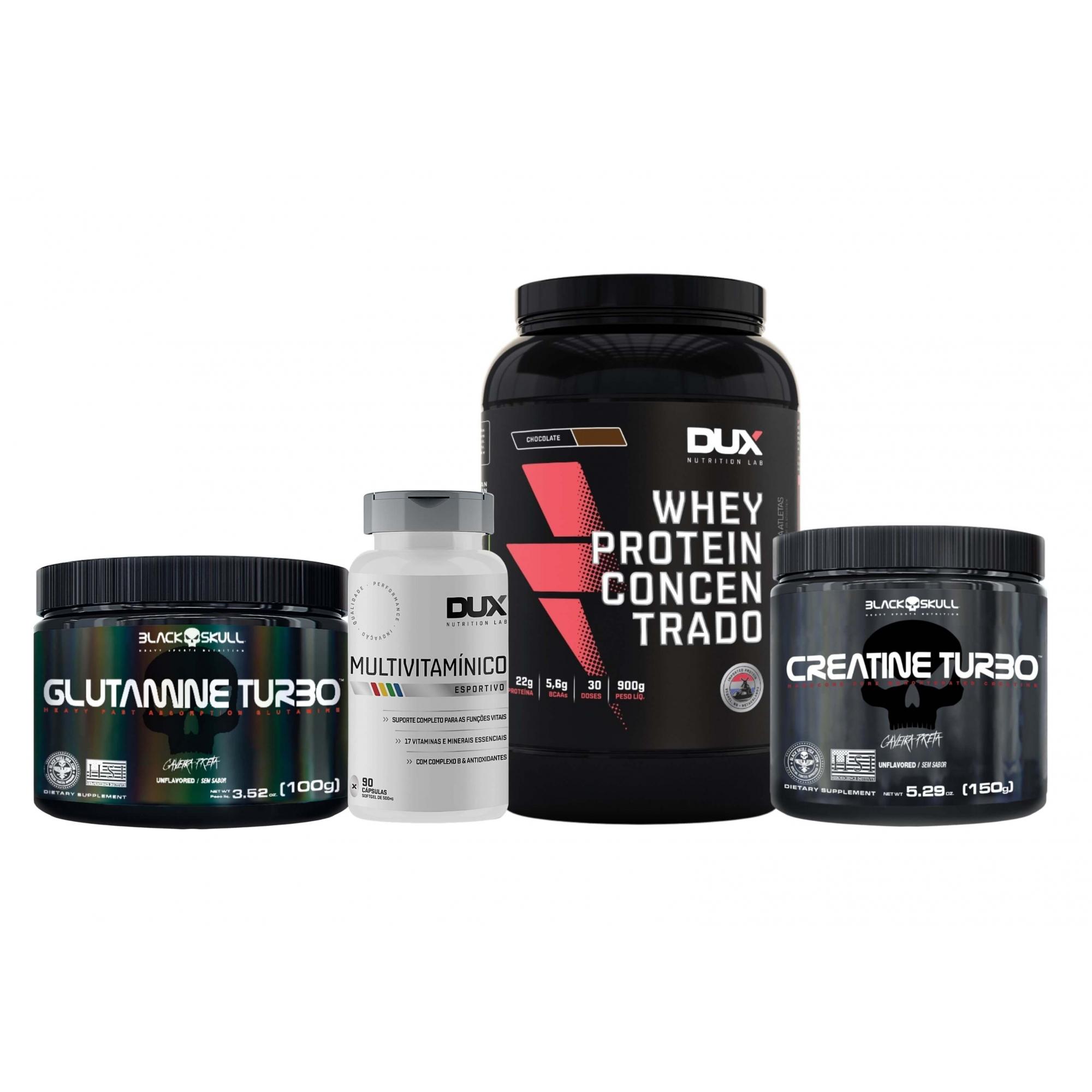 Whey Protein Concentrado 900g + Creatina 150g + Glutamina 100g + Multivitaminico 90 caps