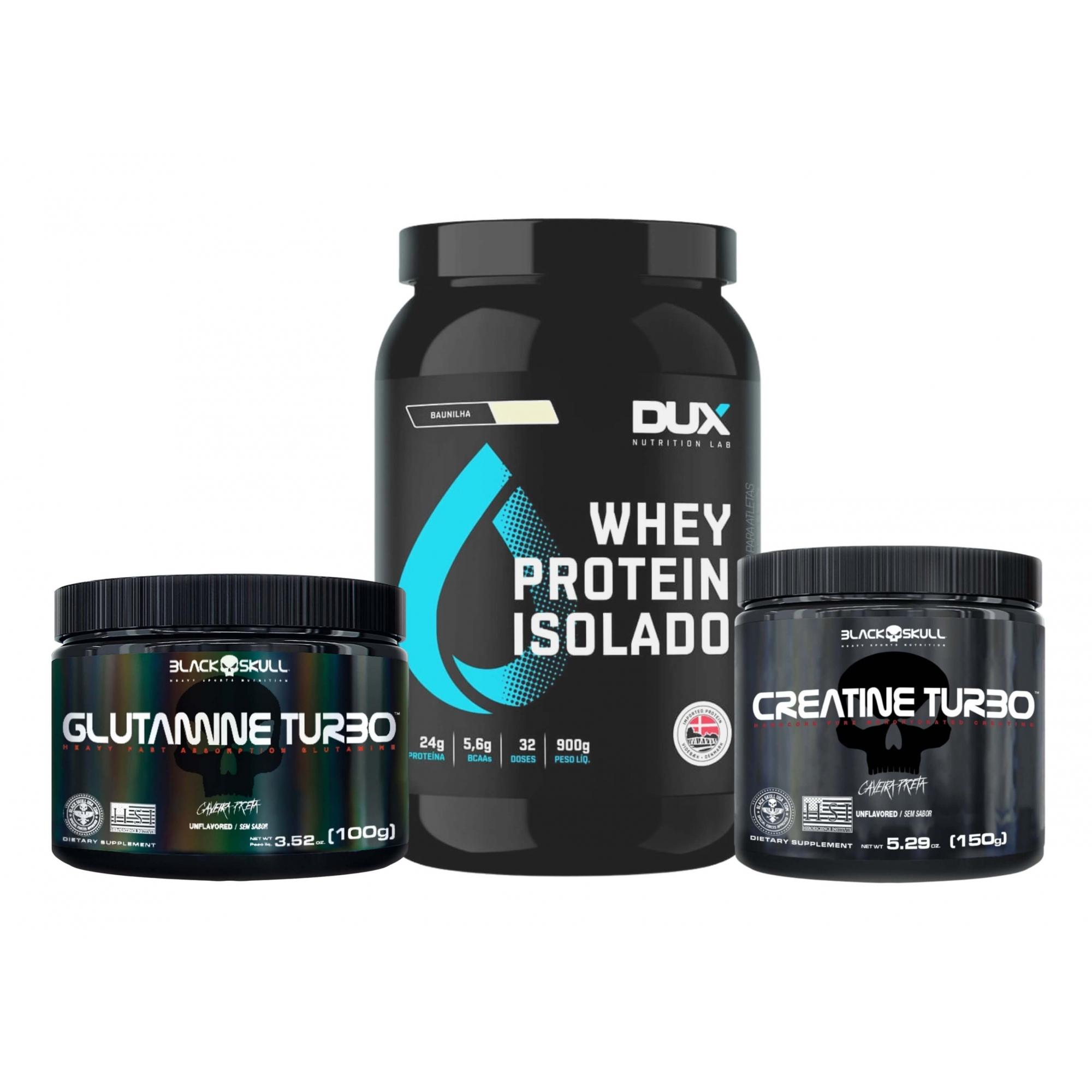 Whey Protein Isolado 900g + Creatina 150g + Glutamina 100g