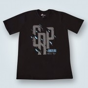 Camiseta CRP estampa geometrica chumbo - preta
