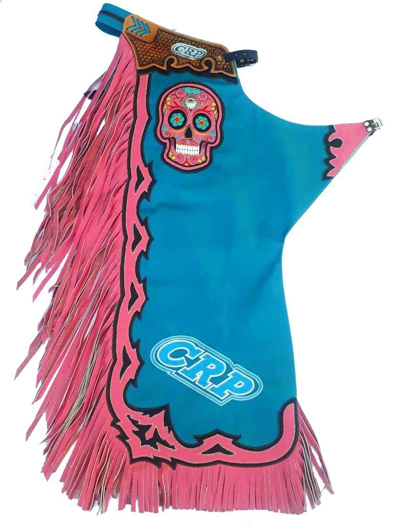Calça de Couro CRP - Caveira Azul/Rosa