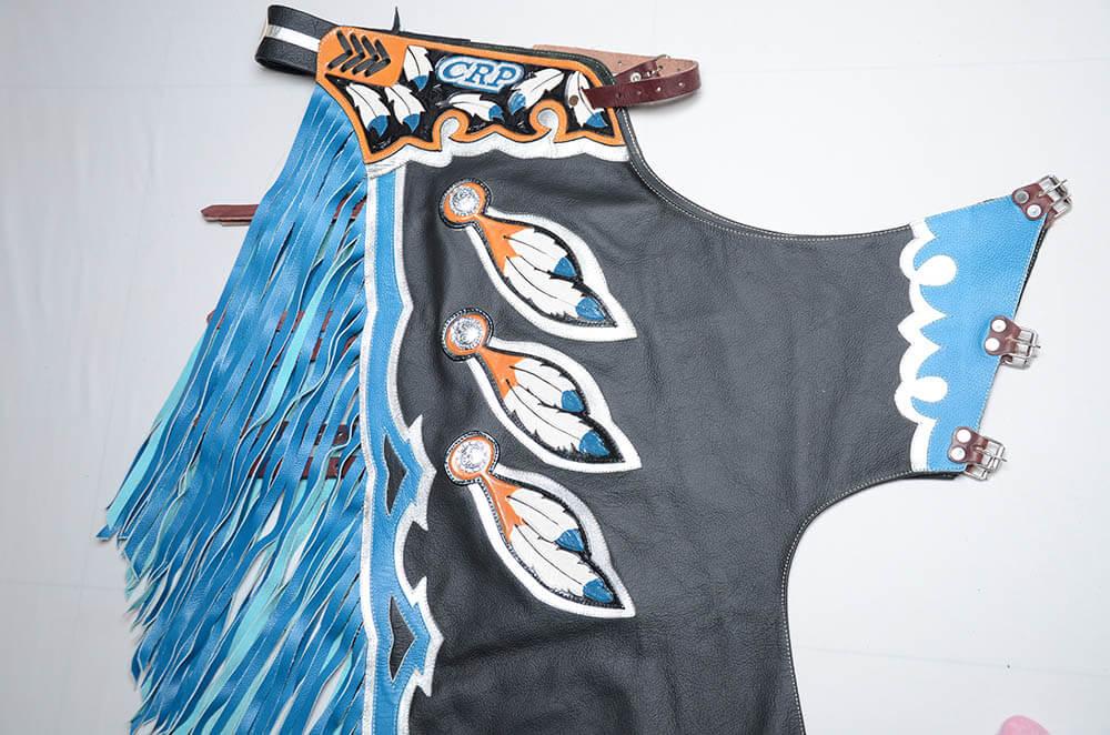 Calça de Couro CRP - Tradicional Preto/Azul