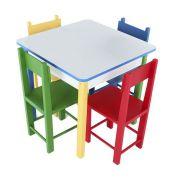 Mesinha Madeira com 4 cadeiras 60x60cm Carlu