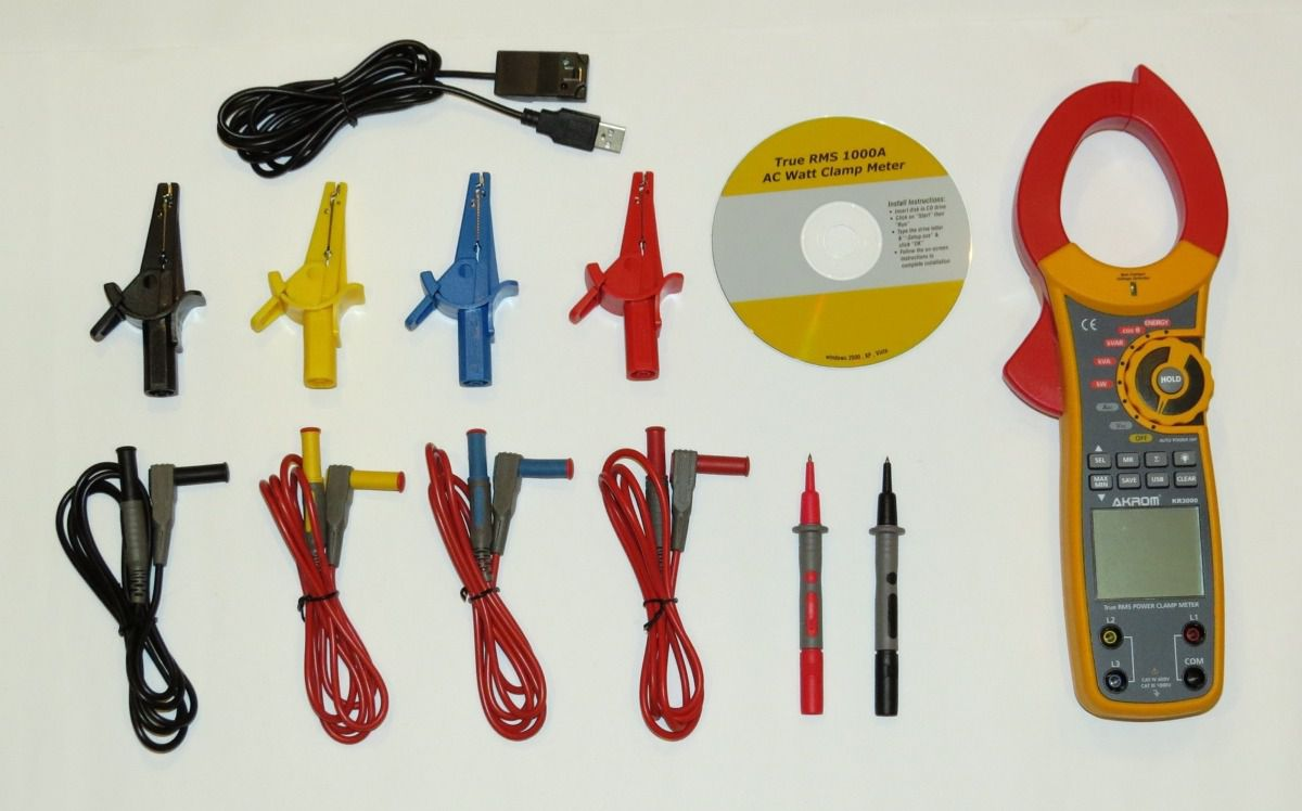 Alicate Wattímetro TRUE RMS com interface USB - KR3000
