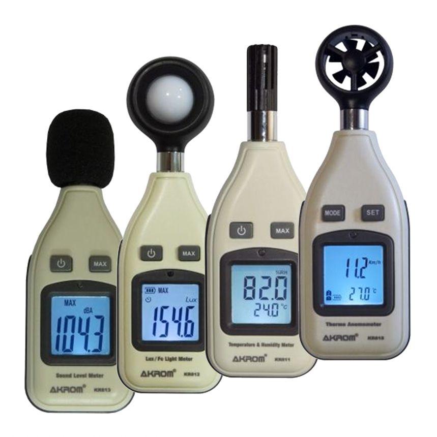 Kit Segurança do Trabalho - Luxímetro - KR812 + Decibelímetro - KR813 + Termo-higrômetro - KR811 + Anemômetro - KR815