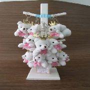 lembrancinhas urso branco com lacinho rosa