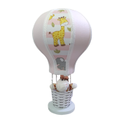 Abajur de mesa Balão Safari Rosa Decoração Quarto de Bebê Infantil