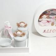 Kit Bebê Porcelana  5 Peças  Mais Quadro Personalizado Com Nome
