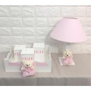 Kit  bebê menina  ursa   rosa   Decoração Quarto De Bebê Infantil