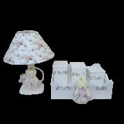 Kit Higiene Bandeja com 3 Potes e Abajur Floral Decoração Quarto De Bebê Infantil