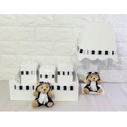 Kit Higiene bebê mdf aviador urso azul claro  decoração quarto infantil