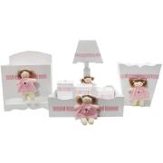 Kit Higiene Bebê Personalizado  Boneca Rosa MDF 7 Peças