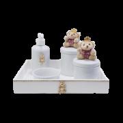 Kit Higiene Com Porcelana Branca e Ursa - Rosa Chá Decoração Quarto de Bebê Infantil
