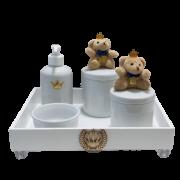 Kit Higiene Com Porcelana Urso Rei  marinho menino