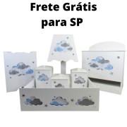 Kit higiene menino  Nuvem azul  decoração quarto de bebê infantil - Nitababy