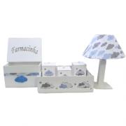 Kit Higiene Nuvem Azul - 6 Peças MDF Decoração Quarto De Bebê Infantil