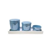 Kit Higiene Porcelana Azul Perolado 3 Peças + Bandeja - Decoração Quarto De Bebê