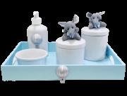 Kit Higiene Porcelana Elefante Decoração Quarto Bebê Infantil - Nita Baby