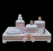 Kit Higiene Porcelana Fita Rosa Urso Dourado Bandeja Decoração Quarto De Bebê Infantil