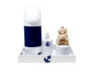 Kit Higiene Porcelana com garrafa Marinheiro urso decoração quarto bebê infantil-nitababy