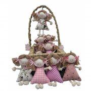30 Lembrancinhas de Maternidade -  Boneca Chaveiro na Cesta