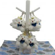 Lembrancinha Chaveiro Urso - Branco Com Laço Azul Marinho e Acompanha Cabide