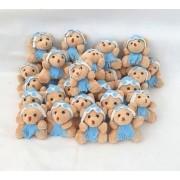 30 Lembrancinha maternidade urso chaveiro aviador azul claro menino embalado na organza