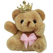 Lembrancinha Ursa Chaveiro - Com Laço Rosa e Coroa
