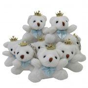 Lembrancinha Chaveiro Urso - Branco Com Laço Azul Claro e Coroa