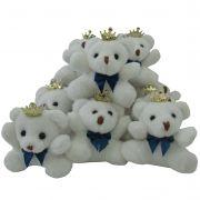 Lembrancinha Chaveiro Urso - Branco Com Laço Azul Marinho e Coroa