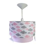 Luminaria tubular nuvem rosa decoração menina