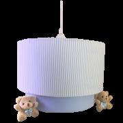 Luminária Lustre pendente de Teto Duplo Listra Azul Decoração Quarto Bebê Infantil