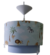 Luminária Lustre de Teto Duplo Safari azul Decoração Quarto Bebê Infantil