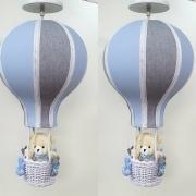 Lustre  Bebê De Teto Balão Azul  Com Cinza  Urso