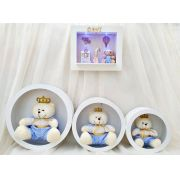 Quadro Maternidade Com Nome e Nicho com Urso Principe - Combo Decoração Quarto de Bebê Infantil