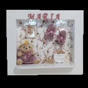 Quadro  Maternidade  Ursa tecido  Provençal escuro com nome da bebê